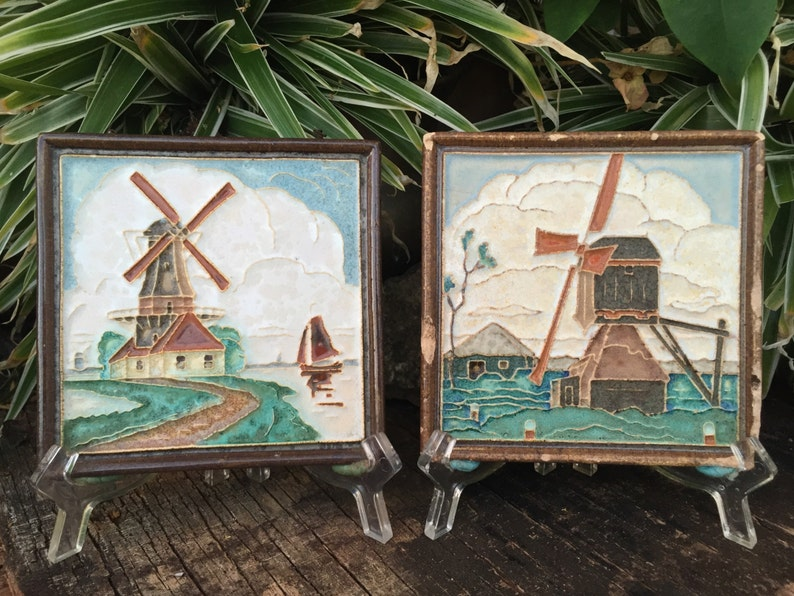 Two Vintage Delft Wall Plaques Delft Delft Tile Inset On Wood Frames