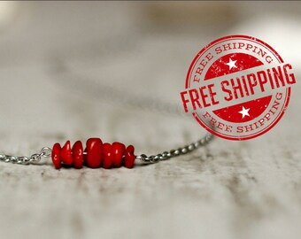 coral necklace red necklace wholesale necklace stainless steel chain necklace handmade gift for mom birthday gift boho raw necklace gemstone