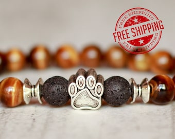 paw bracelet for men gift for brother dog lover bracelet tiger eye bracelet brown bracelet dog lover jewelry husband gift for him present