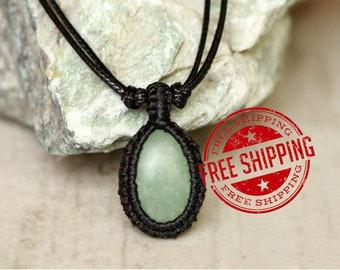 aventurine necklace small pendant necklace gemstone natural stone necklace green pendant little macrame necklace sale cord pendant gem
