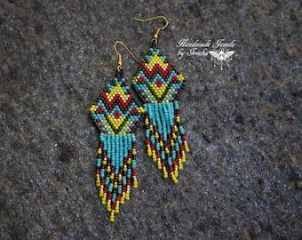 Multicolor Dreamcatcher, beadwork earrings