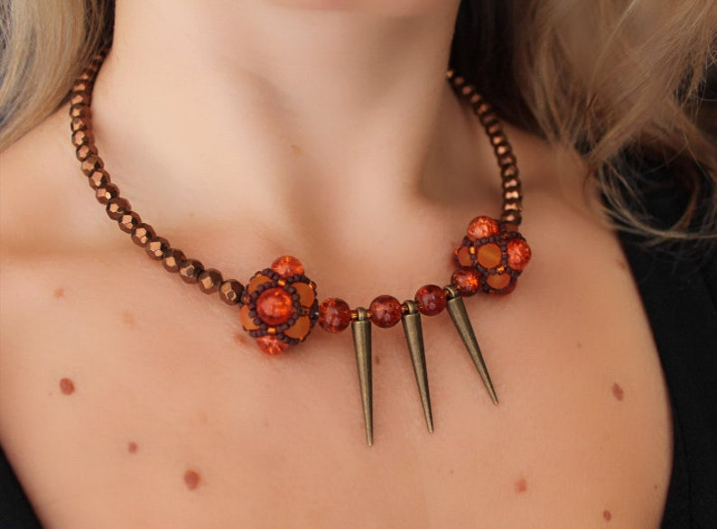 bronze Necklace Choker Brown and orange