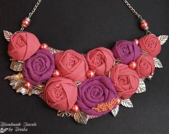 Textile necklace, soft colors