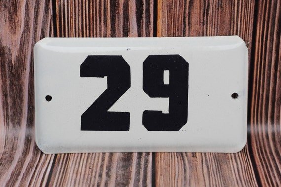 House Numbers 29 Old Door Plate Address Signs Apartment address Industrial  decor White enameled sign Apt 29 House number plaque Room number
