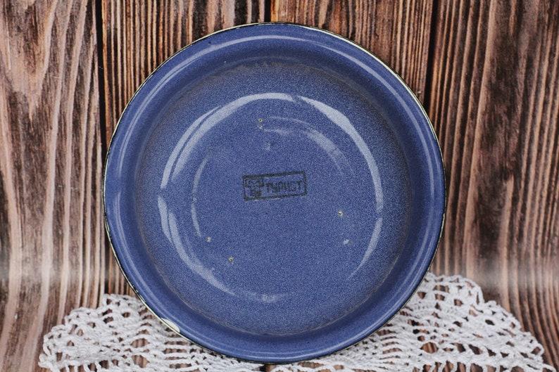 Vintage Blue Enamel Bowl Rustic Bowl Russian plate Enamel tableware Country Farmhouse Primitive Tin Bowl Black Rim Camping Bowl Enamel dish