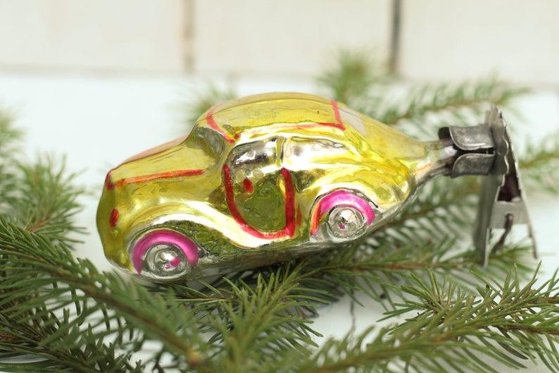 Car Christmas Ornaments.Christmas Toy Car Christmas Ornaments Christmas Decor Tree New Year Tree Soviet Toys Gifts Vintage Christmas Decoration Golden Sar Ornament