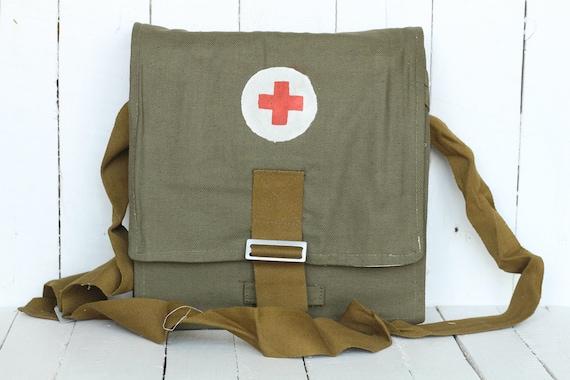 Vintage red cross bag Vintage medical box Vintage medical backpack Vintage doctor/'s bag First aid bag Military medical bag Medical bag