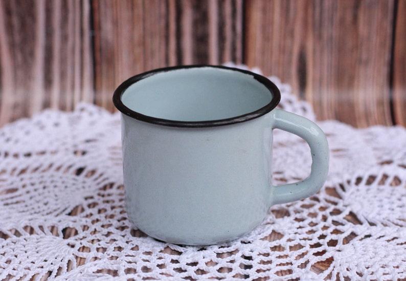 Émaillé Avec Camping Vintage Сhildren Émail De Vaisselle Rustique Mug Bleu Tasse Antique Noir Jante Сoffee n0OkPw