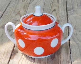 Soviet Red and White Polka Dot Porcelain Sugar Bowl  Made in USSR, Soviet era, Soviet Union. 1980s