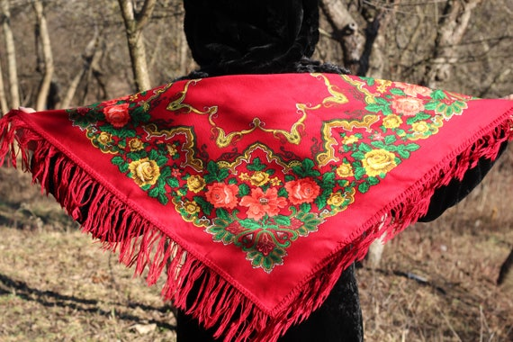 Vintage Red Ukrainian shawl with fringe Red floral