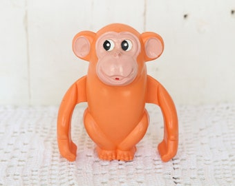 Vintage Soviet clockwork toy monkey Mechanical Collectible toy Wind up toy Figurine monkey Children's toy  Jumping animal Moveable monkey