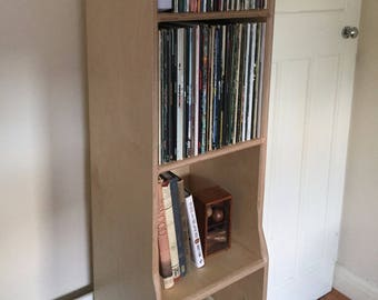 Record Storage Player Stand Bookshelf Bench Cabinet With Sections Custom Plywood