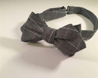 Grey Plaid Diamond Point Cotton Bow Tie