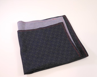 Blue pattern and fine striped reversible pocket square
