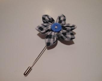 Blue White Plaid Cotton Flower Lapel Pin