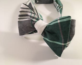 Green and White Plaid Cotton Bow Tie
