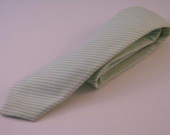 Green and White Striped Cotton Necktie