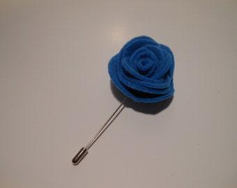 Blue Large Felt Flower Lapel Pin