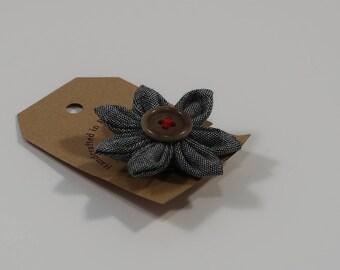 Gray Chambray Cotton Flower Lapel Pin