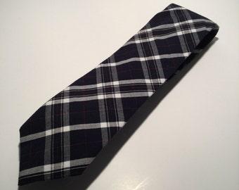 Dark blue plaid cotton necktie