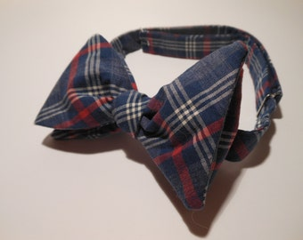 Blue and Red Plaid Cotton Bow Tie