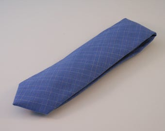 Blue Plaid Pattern Cotton Necktie