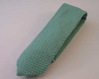 Green and White Micro Gingham Plaid Cotton Necktie