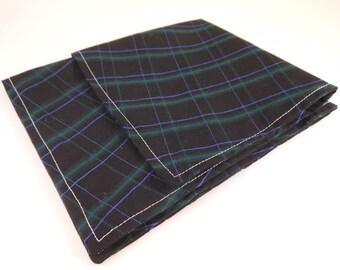 Black with Fine Green Line Plaid Cotton Pocket Square