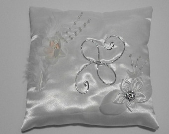 Wedding pillow ring pillow white