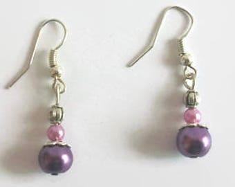 Earrings mauve and purple beads