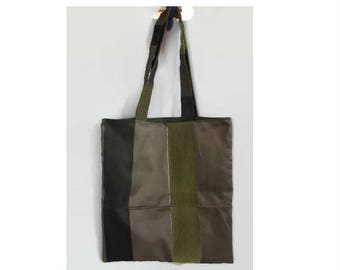 tote bag in green and brown stripe fabric