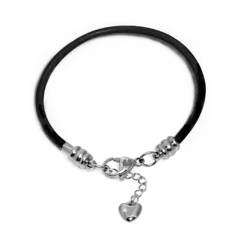 Steel Lobster Claw Clasp Black Leather Charm Bracelet For Women Fits European Style Charms