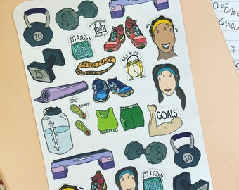 UP in the GYM Hand Drawn Planner Stickers -- Motivational Stickers, Fitspo, Working On My Fitness Functional Stickers