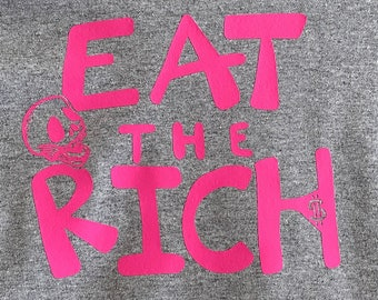 EAT THE RICH - Custom Skull T-Shirt, One of A Kind, Small Gray T-Shirt with Hot Pink Logo, Long Sleeves - Let Them Eat Bourgeoisie