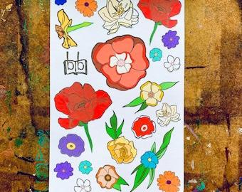 SPRING FLORALS -- Bright Red Flower Planner Stickers, Decorative Sticker Sheet, Rainbow Garden Blooms