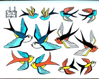 TRADITIONAL TATTOO FLASH -- Temporary Tattoo Sheet -- Flying Birds American Swallows Stick On Tattoos -- Matching Red, Yellow, Blue Birds