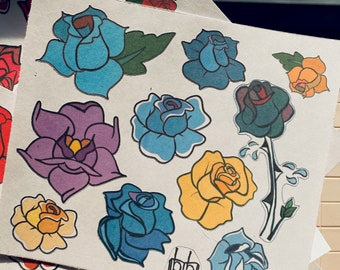 Pastel Roses Temporary Tattoo Flash Sheet, Classic American Traditional Hand Drawn Stick On Tattoos, Black Outline, Sailor Jerry Style