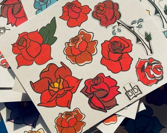 Red Rose Tattoo Sticker Sheet, Classic American Traditional Hand Drawn Planner Stickers, Black Outline, Sailor Jerry Original Style