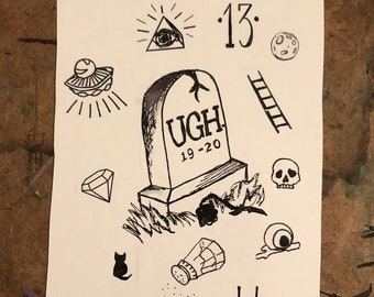 LUCKY FRIDAY the THIRTEENTH Temporary Tattoo Flash Sheet -- 11 Supernatural, Spooky, 13 themed Temporary Tattoos for Extra Lucky Babes