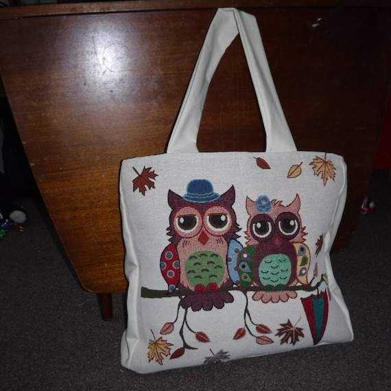 Owl Print Shopping Bag