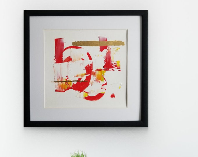 Original Acrylic abstract wall art by Margaret Lipsey. Expressive minimal artwork for your home or office. -  Summer sunset