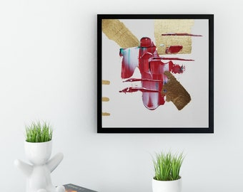 Original Acrylic abstract wall art by Margaret Lipsey. Expressive minimal artwork for your home or office. -  War Paint
