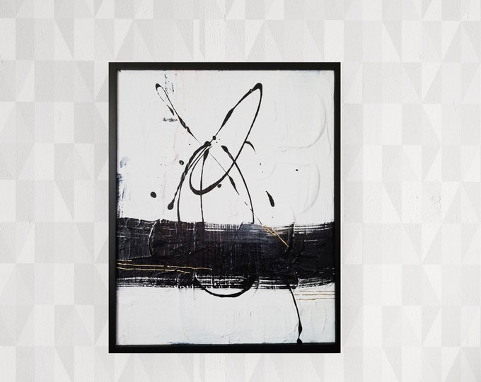 Original Acrylic abstract wall art by Margaret Lipsey. Expressive minimal artwork for your home or office. -  Freedom