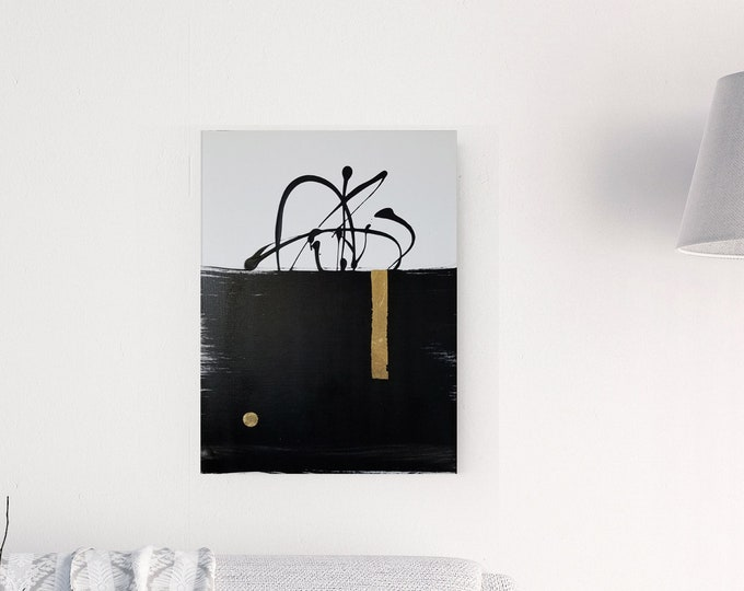 Original Acrylic abstract wall art by Margaret Lipsey. Expressive minimal artwork for your home or office. -  He Thinks of Her Too