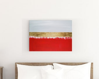 Original Acrylic abstract wall art by Margaret Lipsey. Expressive minimal artwork for your home or office. -  Red Wheat