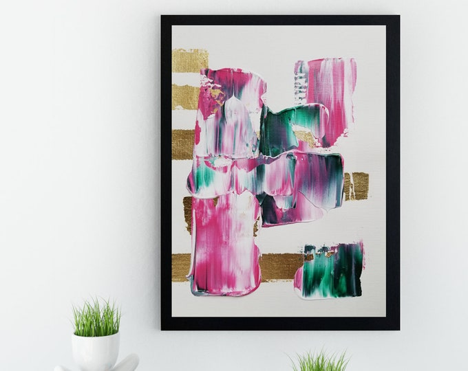 Original Acrylic abstract wall art by Margaret Lipsey. Expressive minimal artwork for your home or office. -  Pink No.1