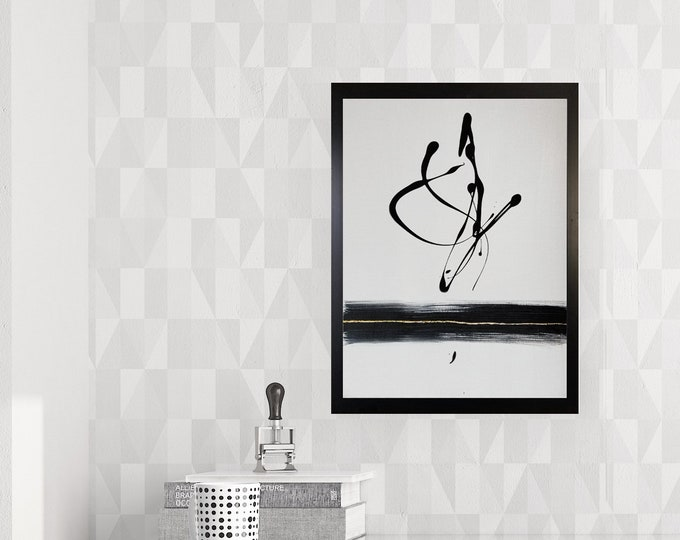 Original Acrylic abstract wall art by Margaret Lipsey. Expressive minimal artwork for your home or office. -  Strange Fruit