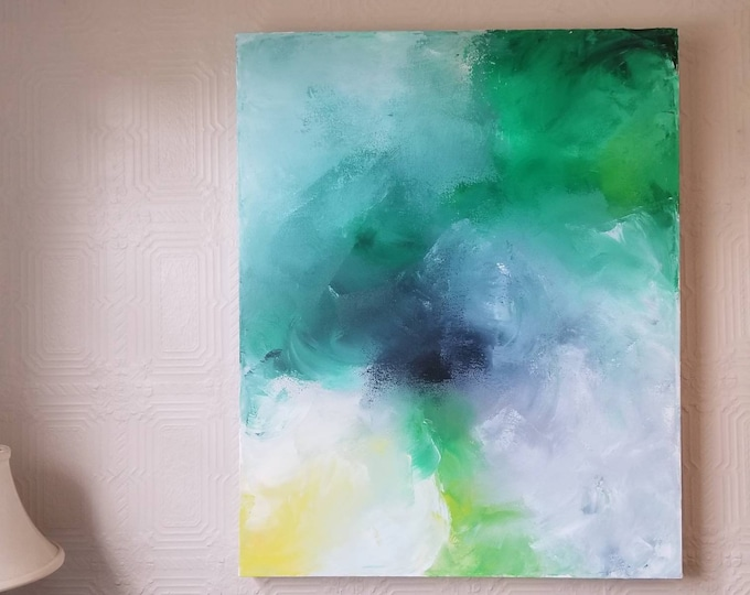 Featured listing image: Dance in the Sun - Acrylic abstract wall art by Margaret Lipsey. Colorful and expressive artwork for your home or office.