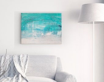 Textured Acrylic abstract wall art by Margaret Lipsey. Colorful and expressive artwork for your home or office. - Seascape