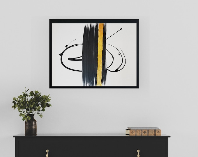"""Black and white art work by Margaret Lipsey. Minimal wall art for your home or office. """"My Other Half"""""""